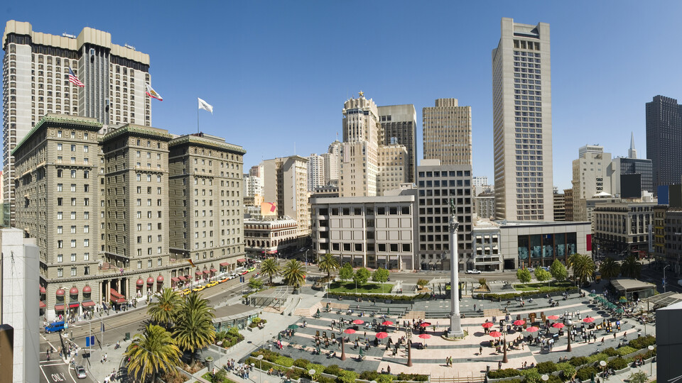 Big picture city outdoor Union Square San Francisco. Outdoor, people.